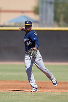 Milwaukee Brewers shortstop Jean Carmona (36) prepares to make a throw to first base during an Instructional League game against the San Diego Padres on September 27, 2017 at Peoria Sports Complex in Peoria, Arizona. (Zachary Lucy/Four Seam Images)