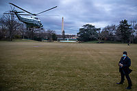 Marine One, with US President Joe Biden aboard, lifts off the South Lawn of the White House in Washington, DC, USA, 16 February 2021. This evening President Biden is traveling to Minneapolis to participate in a town hall meeting where he will take questions on the pandemic and the economy. <br /> Credit: Shawn Thew / Pool via CNP /MediaPunch