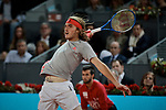 Stefanos Tsitsipas during the Mutua Madrid Open Masters match on day eight at Caja Magica in Madrid, Spain.May 11, 2019. (ALTERPHOTOS/A. Perez Meca)