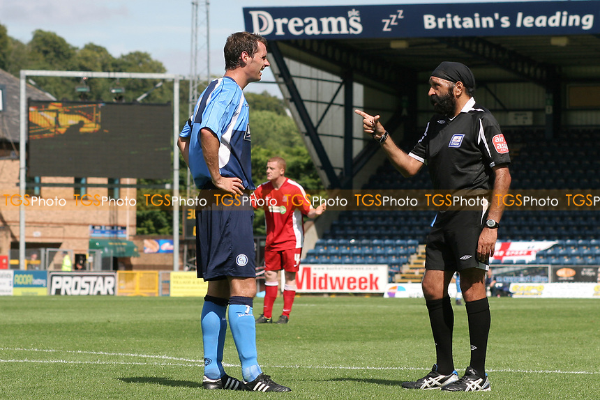 Match Referee Mr Jarnail Singh points his finger at Wycombe Wanderers captain, David McCracken during Wycombe Wanderers vs Southend United, Friendly Match Football at Adams Park on 2nd August 2008