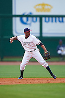 NW Arkansas Naturals second baseman Angel Franco (1) throws to first during a game against the San Antonio Missions on May 31, 2015 at Arvest Ballpark in Springdale, Arkansas.  NW Arkansas defeated San Antonio 3-1.  (Mike Janes/Four Seam Images)