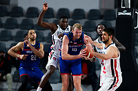 22nd February 2021, Podgorica, Montenegro; Eurobasket International Basketball qualification for the 2022 European Championships, England versus France;  Dan Clark of Great Britain drives through the reach in from Yakuba Ouattara of France