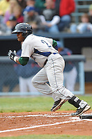 Lexington Legends Delino DeShields Jr. #2 runs to first during a game against  the Lexington Legends at McCormick Field in Asheville,  North Carolina;  April 16, 2011. Lexington defeated Aheville 13-7.  Photo By Tony Farlow/Four Seam Images