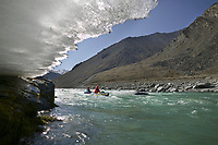 Whitewater rafting, overflow ice on the Kongakut River, Brooks Range mountains, Arctic National Wildlife Refuge, Alaska