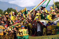 NEIVA -COLOMBIA- 6-SEPTIEMBRE-2014.Hinchas del Atletico Huila durante el partido contra  Millonarios  <br />  partido por la fecha 8 de la Liga Postobón II 2014 jugado en el estadio Guillermo Plazas Alcid de la ciudad de Neiva ./ Fans  of Atletico Huila  during the match against Millonarios  for the 8th date of the Postobon League II 2014 played at Guillermo Plazas Alcid  stadium in Neiva city.Photo / VizzorImage / Andrew Indell / Stringer