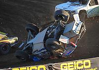 Dec. 10, 2011; Chandler, AZ, USA;  LOORRS pro 2 unlimited driver Robby Woods flips during round 15 at Firebird International Raceway. Mandatory Credit: Mark J. Rebilas-
