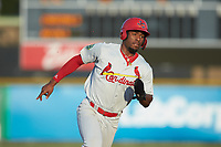 Todd Lott (29) of the Johnson City Cardinals hustles towards third base against the Burlington Royals at Burlington Athletic Stadium on September 3, 2019 in Burlington, North Carolina. The Cardinals defeated the Royals 7-2 to even Appalachian League Championship series at one game a piece. (Brian Westerholt/Four Seam Images)