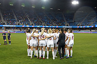 SAN JOSE, CA - DECEMBER 6: The Stanford Cardinal players huddle before the match during a game between UCLA and Stanford Soccer W at Avaya Stadium on December 6, 2019 in San Jose, California.