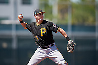 Pittsburgh Pirates Kyle Watson (16) during a minor league Spring Training game against the Atlanta Braves on March 13, 2018 at Pirate City in Bradenton, Florida.  (Mike Janes/Four Seam Images)
