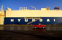 A docked Korean Hyundai RoRo (Roll on Roll off) ship used for shipping cars.