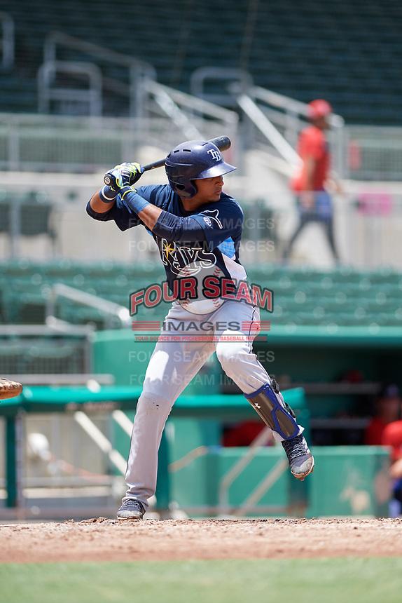 GCL Rays shortstop Luis Leon (4) at bat during a game against the GCL Red Sox on August 1, 2018 at JetBlue Park in Fort Myers, Florida.  GCL Red Sox defeated GCL Rays 5-1 in a rain shortened game.  (Mike Janes/Four Seam Images)