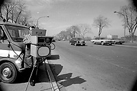 MONTREAL, CANADA -  File Photo - A Montreal  city employee check cars speed using a MULTANOVA Radar, March 25, 1973.