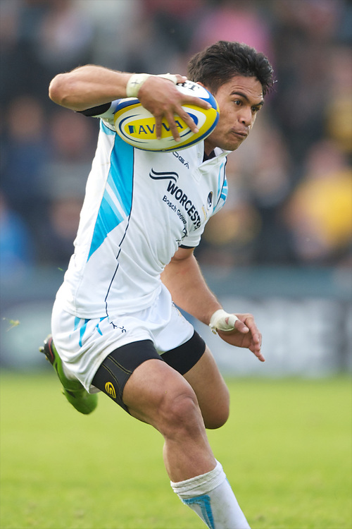David Lemi of Worcester Warriors in action against his old team during the Aviva Premiership match between London Wasps and Worcester Warriors at Adams Park on Sunday 7th October 2012 (Photo by Rob Munro)