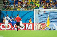 Mario Balotelli of Italy scores a goal to make it 1-2