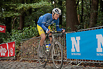 Mud splattered riders on the third ascent of the Kemmelberg during the 82nd edition of Gent-Wevelgem 2020 running 232km from Ypres to Wevelgem, Belgium. 11th October 2020.  <br /> Picture: Colin Flockton   Cyclefile<br /> <br /> All photos usage must carry mandatory copyright credit (© Cyclefile   Colin Flockton)