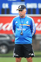 Saint Louis, MO August 1 2013<br /> Head Coach Carlos Ancelotti watches players practice.<br /> Real Madrid practiced at Herman Stadium on the campus of Saint Louis <br /> University ahead of their international friendly with Inter Milan at the Edward Jones Dome.