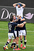 Duhan van der Merwe of Scotland (R) celebrates with team mates after scoring a try during the the Autumn Nations Cup's match between Italy and Scotland at Stadio Artemio Franchi on November 14, 2020 in Florence, Italy. Photo Andrea Staccioli / Insidefoto