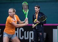 Bratislava, Slovenia, April 23, 2017,  FedCup: Slovakia-Netherlands, Practise Dutch team, captain Paul Haarhuis is watching Kiki Bertens<br /> Photo: Tennisimages/Henk Koster