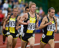 EUGENE, OR--Dathan Ritzenhein, 102, leads Matt Tegenkamp, 109, and Alan Webb, 103 in the mens 2 mile during the Steve Prefontaine Classic, Hayward Field, Eugene, OR. SUNDAY, JUNE 10, 2007. PHOTO © 2007 DON FERIA