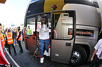 Bafetimbi Gomis of Swansea arrives at today match   during the Barclays Premier League match Watford and Swansea   played at Vicarage Road Stadium , Watford