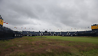 14th July 2021; The Royal St. George's Golf Club, Sandwich, Kent, England; The 149th Open Golf Championship, practice day; a view of the grandstands around the 18th green