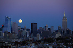 The Closest Supermoon Full Moon Since 1948 rises over New York City