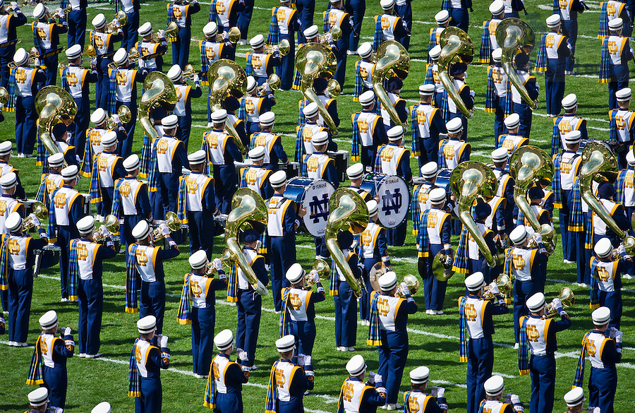 Sept. 28, 2013; The Notre Dame Marching Band performs the national anthem before the Oklahoma game.<br /> <br /> Photo by Matt Cashore/University of Notre Dame