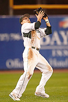 Michigan State Spartans outfielder Jordan Keur #6 catches a fly ball during a game against the St. John's Red Storm at the Big Ten/Big East Challenge at Florida Auto Exchange Stadium on February 17, 2012 in Dunedin, Florida.  (Mike Janes/Four Seam Images)