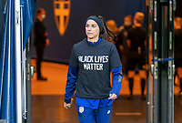 SOLNA, SWEDEN - APRIL 10: Alex Morgan #13 of the USWNT walks onto the field before a game between Sweden and USWNT at Friends Arena on April 10, 2021 in Solna, Sweden.
