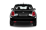 Straight rear view of 2021 MINI Mini-Electric Cooper-SE-Edition-mosaert 3 Door Hatchback Rear View  stock images