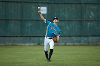 Mooresville Spinners starting pitcher Justin Jarvis (39) warms up in the outfield prior to the exhibition game against the Race City Bootleggers at Moor Park on July 23, 2020 in Mooresville, NC. Jarvis was a 2018 5th round draft pick of the Milwaukee Brewers out of Lake Norman (NC) High School.  With the 2020 Minor League Baseball season canceled, Jarvis was given permission to pitch for the Spinners, who play in the Southern Collegiate Baseball League.  (Brian Westerholt/Four Seam Images)