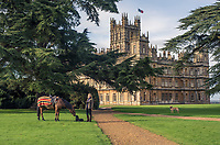 The Countess of Carnarvon with one of her horses in the grounds of Highclere Castle