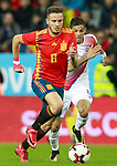 Spain's Saul Niguez (l) and Costa Rica's Cristian Gamboa during international friendly match. November 11,2017.(ALTERPHOTOS/Acero)