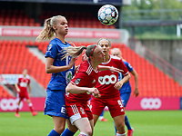 Lore Jacobs (17) of AA Gent and Zoe Van Eynde (14) of Standard  battle for the ball during a female soccer game between Standard Femina de Liege and KAA Gent Ladies on the second match day of the 2021 - 2022 season of Belgian Scooore Womens Super League , Saturday 28 th of August 2021  in Liege, Belgium . PHOTO SPORTPIX | SEVIL OKTEM