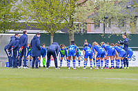Team KAA Gent pictured before a female soccer game between AA Gent Ladies and Oud Heverlee Leuven on the fourth matchday of play off 1 in the 2020 - 2021 season of Belgian Scooore Womens Super League , saturday 1 st of May 2021  in Oostakker , Belgium . PHOTO SPORTPIX.BE | SPP | STIJN AUDOOREN