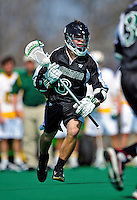 3 April 2010: Binghamton University Bearcats' Attacker Tyler Perrelle, a Freshman from Mahopac, NY, in action against the University of Vermont Catamounts at Moulton Winder Field in Burlington, Vermont. The Catamounts defeated the visiting Bearcats 11-8 in Vermont's opening home game of the 2010 season. Mandatory Credit: Ed Wolfstein Photo