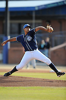 Asheville Tourists starting pitcher Antonio Senzatela #9 delivers a pitch during a game against the Delmarva Shorebirds at McCormick Field on April 5, 2014 in Asheville, North Carolina. The Tourists defeated the Shorebirds 5-3. (Tony Farlow/Four Seam Images)