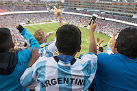 Santa Clara, CA - Monday June 6, 2016: Argentina fans celebrate their team's first goal. Argentina played Chile in the group D match of the Copa América Centenario game at Levi's Stadium.