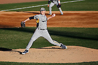 Kent State Golden Flashes pitcher Eric Lauer (10) on the mind during a game against the University of Virginia Cavaliers at Ticketreturn.com Field at Pelicans Ballpark on February 19, 2016 in Myrtle Beach, South Carolina. Virginia defeated Kent State 8-6. (Robert Gurganus/Four Seam Images)
