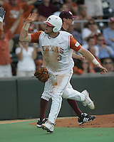 Texas catcher Cameron Rupp celebrates after scoring against Texas A&M on May 16th, 2008 in Austin Texas. Photo by Andrew Woolley / Four Seam Images.
