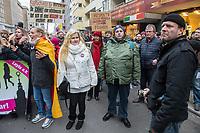 """Ca. 800 Menschen folgten am Samstag den 17. Februar 2018 in Berlin dem Aufruf der AfD-Frau Leyla Bilge zu einem sog. """"Marsch der Frauen"""". Sie demonstrierten gegen Zuwanderung und Fluechtlinge, die """"nur nach Deutschland kommen um hier Frauen zu schaenden"""" so einige Teilnehmer.<br /> Der rechte Aufmarsch wurde nach 750 Metern durch Strassenblockaden von ca. 2.000 Menschen gestoppt. Leyla Bilge weigerte sich als Anmelderin drei Stunden lang den blockierten  Aufmarsch zu beenden und forderte von der Polizei die Blockaden zu raeumen. Ein Raeumungsversuch der Polizei scheiterte, da es zu viele Menschen waren, die auf der Strasse sassen.<br /> Nach drei Stunden beendete Bilge den Aufmarsch. Die Demosntranten, unter ihnen etliche Neonazis, sog. """"Identitaere"""" und AfD-Politiker zogen darauf ab und griffen dabei Gegendemosntranten und Polizeibeamte an. Mehrere Personen wurden festgenommen. Ein Teil fuhr zum Kanzleramt, dem urspruenglichen Ziel des Aufmarsches.<br /> Im Bild 3.vl. mit blauer Muetze: Ein Aufmarschteilnehmer mit einer Muetze der britischen Terrororganistaion Combat 18 (18 = A H = Adolf Hitler).<br /> 17.2.2018, Berlin<br /> Copyright: Christian-Ditsch.de<br /> [Inhaltsveraendernde Manipulation des Fotos nur nach ausdruecklicher Genehmigung des Fotografen. Vereinbarungen ueber Abtretung von Persoenlichkeitsrechten/Model Release der abgebildeten Person/Personen liegen nicht vor. NO MODEL RELEASE! Nur fuer Redaktionelle Zwecke. Don't publish without copyright Christian-Ditsch.de, Veroeffentlichung nur mit Fotografennennung, sowie gegen Honorar, MwSt. und Beleg. Konto: I N G - D i B a, IBAN DE58500105175400192269, BIC INGDDEFFXXX, Kontakt: post@christian-ditsch.de<br /> Bei der Bearbeitung der Dateiinformationen darf die Urheberkennzeichnung in den EXIF- und  IPTC-Daten nicht entfernt werden, diese sind in digitalen Medien nach §95c UrhG rechtlich geschuetzt. Der Urhebervermerk wird gemaess §13 UrhG verlangt.]"""