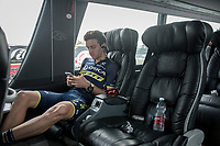 Adam Yates (GBR/Orica-Scott) relaxing on the teambus pre-race<br /> <br /> 98th Milano - Torino 2017 (ITA) 186km