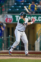 Fort Wayne TinCaps catcher Austin Allen (23) at bat against the West Michigan Whitecaps on May 23, 2016 at Parkview Field in Fort Wayne, Indiana. The TinCaps defeated the Whitecaps 3-0. (Andrew Woolley/Four Seam Images)