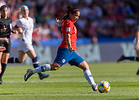 PARIS,  - JUNE 16: Karen Araya #8 passes the ball during a game between Chile and USWNT at Parc des Princes on June 16, 2019 in Paris, France.