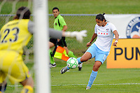 Goalkeeper Jenni Branam (23) of Sky Blue FC keeps an eye on Cristiane (11) of the Chicago Red Stars. Sky Blue FC defeated the Chicago Red Stars 1-0 during a Women's Professional Soccer match at Yurcak Field in Piscataway, NJ, on June 17, 2009.