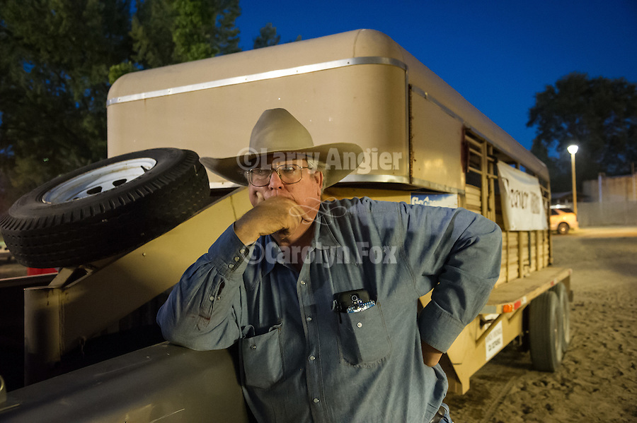 Day 3 of the Amador County Fair, Plymouth, Calif.<br /> <br /> Ken Deaver brings the sheep for the Mutton Bustin' finals at the rodeo