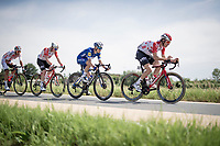 the 4-man breakaway group with the impressive 19yr old Remco Evenepoel (BEL/Deceuninck - Quick Step) as the main engine and fellow escapees Jelle Wallays (BEL/Lotto-Soudal), Stan Dewulf (BEL/Lotto-Soudal) & Dries de Bondt (BEL/Corendon Circus)<br /> <br /> Belgian National Road Championships 2019 - Gent<br /> <br /> ©kramon