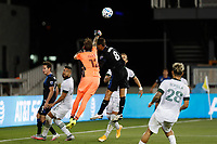 SAN JOSE, CA - SEPTEMBER 16: Steve Clark #12 of the Portland Timbers punches the ball away from Chris Wondolowski #8 of the San Jose Earthquakes during a game between Portland Timbers and San Jose Earthquakes at Earthquakes Stadium on September 16, 2020 in San Jose, California.