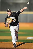Wake Forest Demon Deacons starting pitcher John McLeod (17) delivers a pitch to the plate against the Missouri Tigers at Wake Forest Baseball Park on February 22, 2014 in Winston-Salem, North Carolina.  The Demon Deacons defeated the Tigers 1-0.  (Brian Westerholt/Four Seam Images)