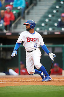 Buffalo Bisons second baseman Alexi Casilla (12) at bat during a game against the Durham Bulls on June 13, 2016 at Coca-Cola Field in Buffalo, New York.  Durham defeated Buffalo 5-0.  (Mike Janes/Four Seam Images)